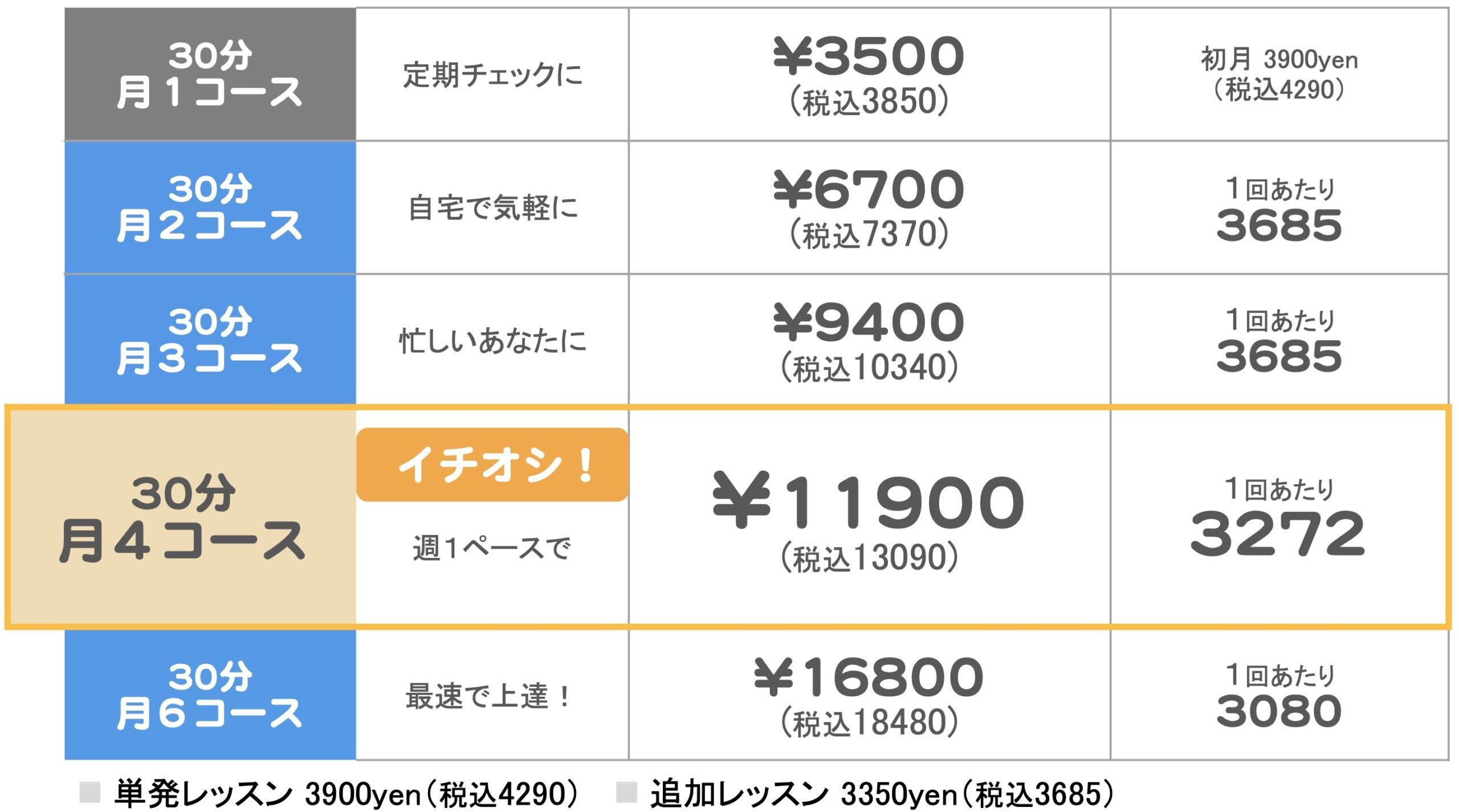 税込み30分料金表online